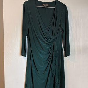 Emerald green faux wrap dress - size 14